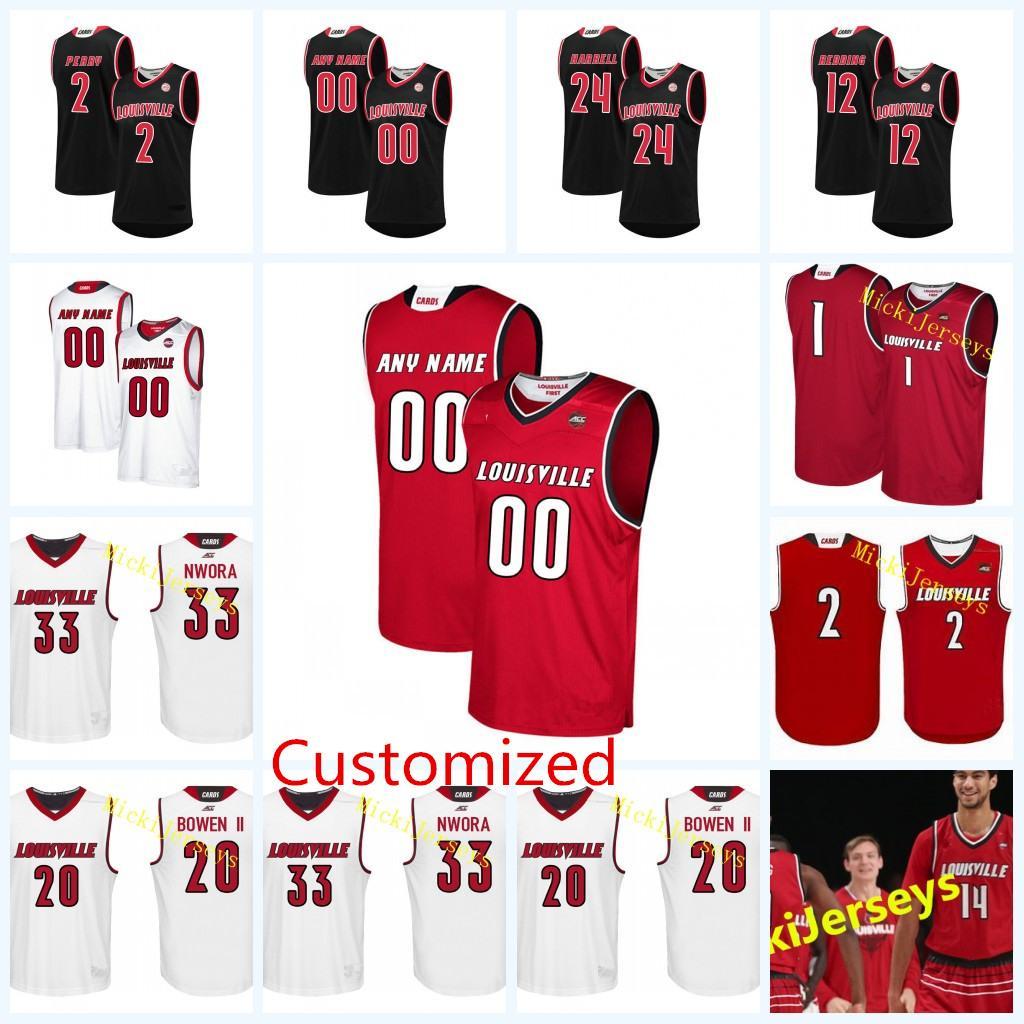 hot sale online 287e7 2f0ce Custom NCAA Louisville Cardinals College Basketball Jerseys Damion Lee Anas  Mahmoud Brian Bowen Deng Adel Nwora Louisville Cardinal Jersey