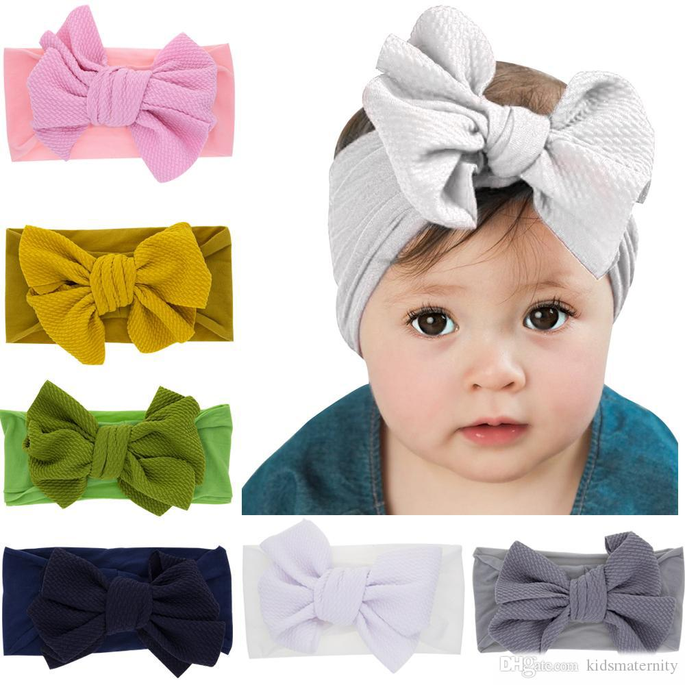Baby Girls big bow headbands Elastic Bowknot hairbands headwear Kids headdress head bands newborn Turban Head Wraps