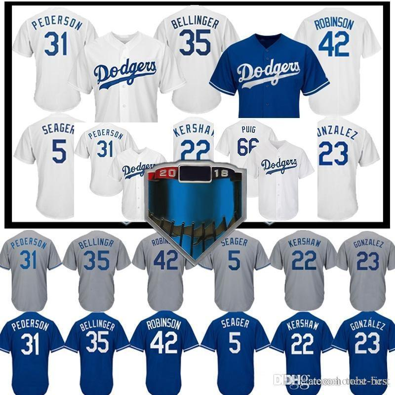 22c08c9e5 Los Angeles 22 Clayton Kershaw Dodgers Jersey 5 Corey Seager 35 Cody ...