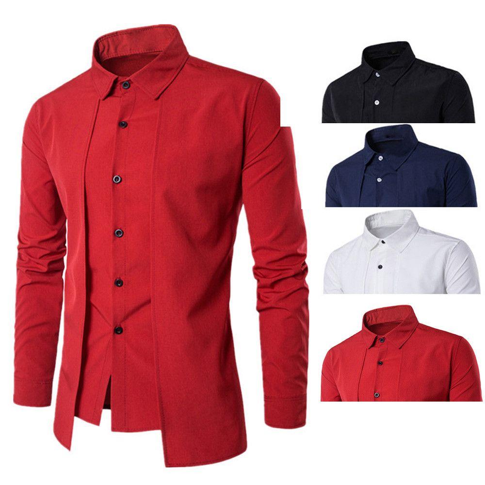 02ab9c2c6ff9 2019 2019 Male New Brand Fashion Luxury Long Sleeve Soft Slim Lapel Tops  Shirt Blouse Men Fashion Business Stylish Dress Shirts F1 From Vinceena, ...