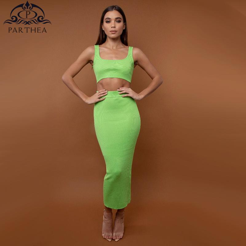 cc155329b73e Parthea Summer Dress 2019 New Bodycon Maxi Dress Women Elegant Two Piece  Sexy Robe Femme Skinny Casual Dresses Neon Green Dresss Womens Party Dresses  From ...