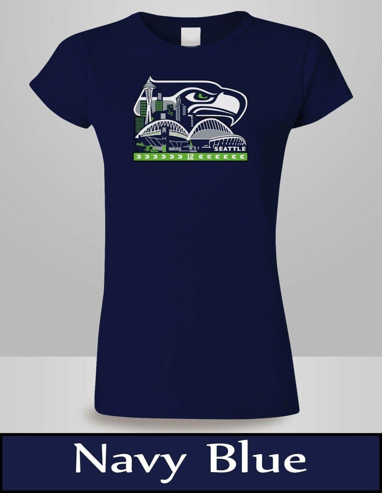 5267e45f SEATTLE SEAHAWKS T-SHIRT WOMENS NAVY BUILDING SKYLINE SEAHAWKS TEE NEW  Funny free shipping Unisex Casual