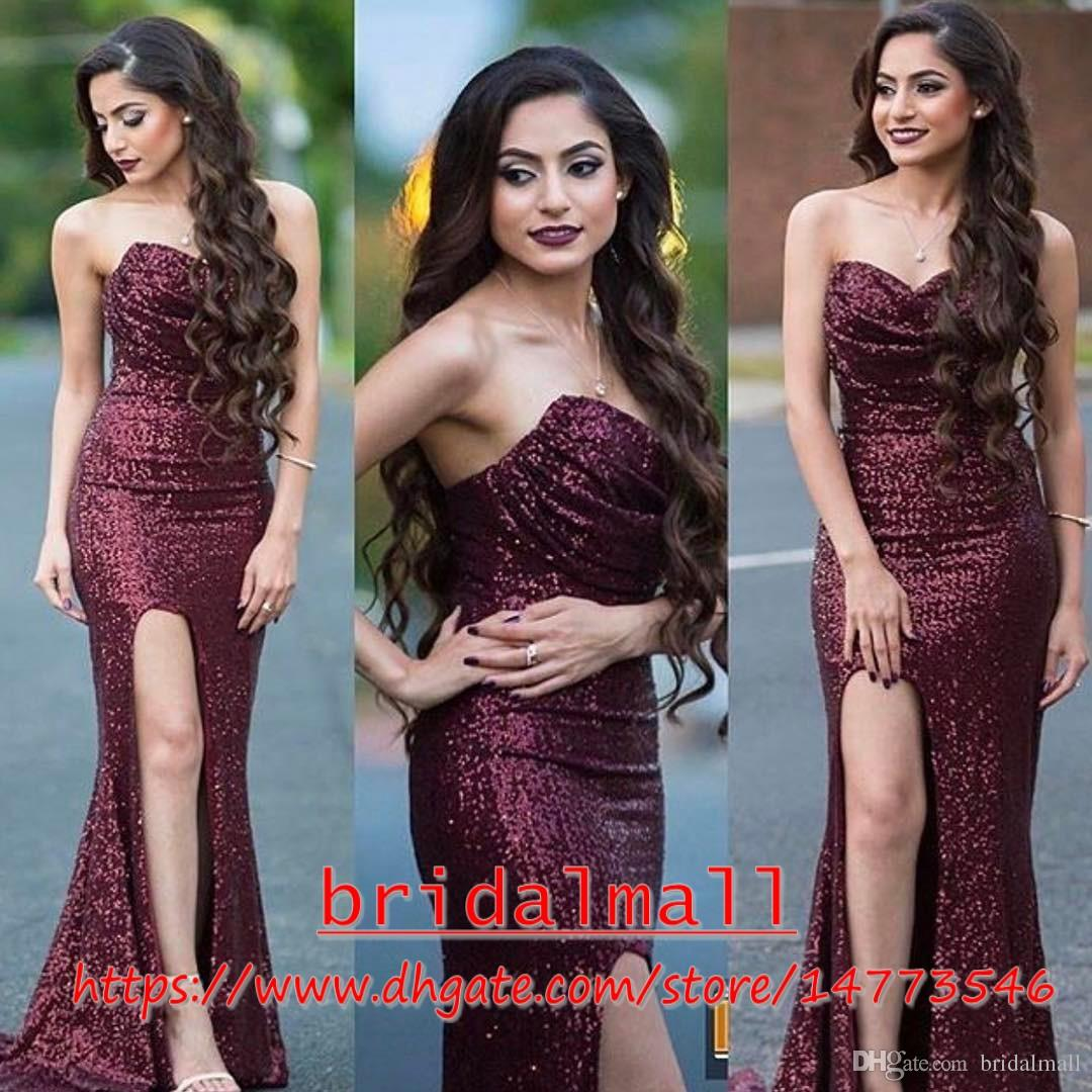 Sparkly Burgundy Sequins High Split Prom Evening Dresses 2019 Sexy Sweetheart Sheath Long Red Carpet Dress Cheap Pageant Dress Celebrity