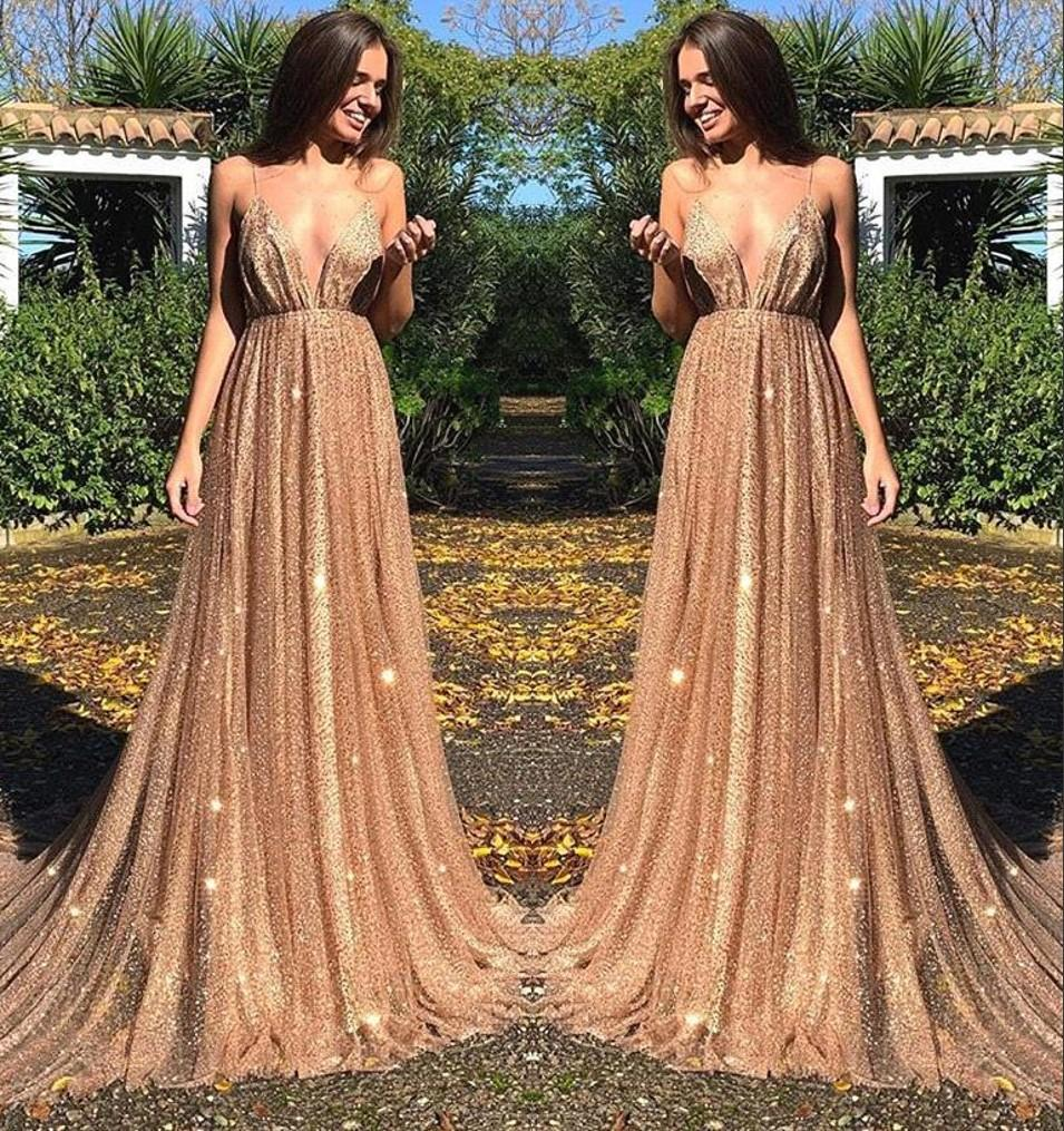 342118cb49 2019 New Spaghetti Straps Sequins A Line Long Prom Dresses Ruched Backless  Sweep Train Formal Party Evening Gowns BC0515 Prom Dresses With Lace Purple  Prom ...