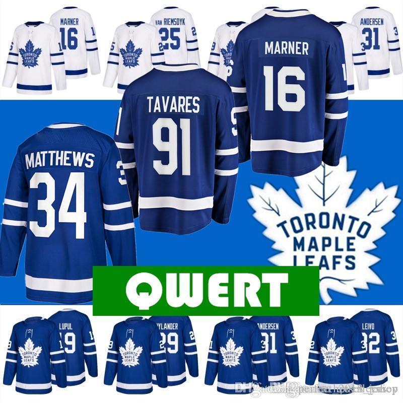 b76287e8f6de1 Compre Nhl 2018 Venta Nuevos Hombres Para Toronto Maple Leafs Hockey  Jerseys 91 John Tavares 34 Auston Matthews 16 Mitch Marner Bordado Cosido A   30.72 Del ...