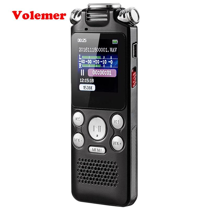 Volemer Mini Voice Recorder Fast Charging Two Microphone Sound Recording Digital Audio Voice Recorder Mp3 Music Player PK T60