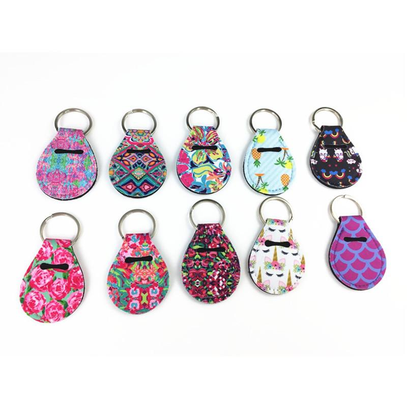Random Color Send Neoprene Chapstick Holder Keychain Mini Coin Wrap Key Chain Holder Carry Case Printed Key Rings Keychains H525Q F