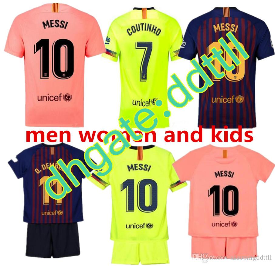 the best attitude 15654 a7d17 2018 2019 FC Barcelona MESSI Soccer Jersey men WOMEN third away pink kids  kits 18 19 Suárez DEMBELE COUTINHO football shirt top thai quality