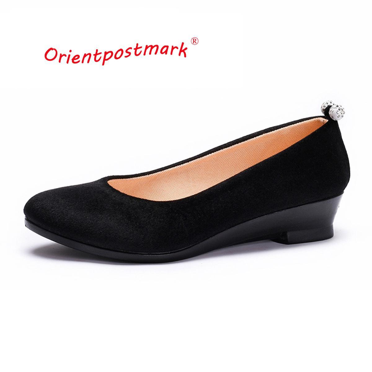 cc45f1e7cd6f3 Acheter 2019 Femmes Noir Chaussures Femmes Ballet Coins Chaussures Pour  Printemps Automne Chaussures Oversize Bateau Tissu Coins Doux Mocassins  Respirant De ...