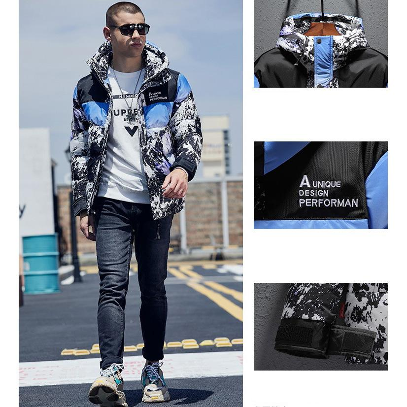 Men Designer Down Jackets 2019 Fashion Snow Nountain Down Coat Mens Outdoor Loose Hooded Coat Luxury Casual Coat Asian Size L-3XL