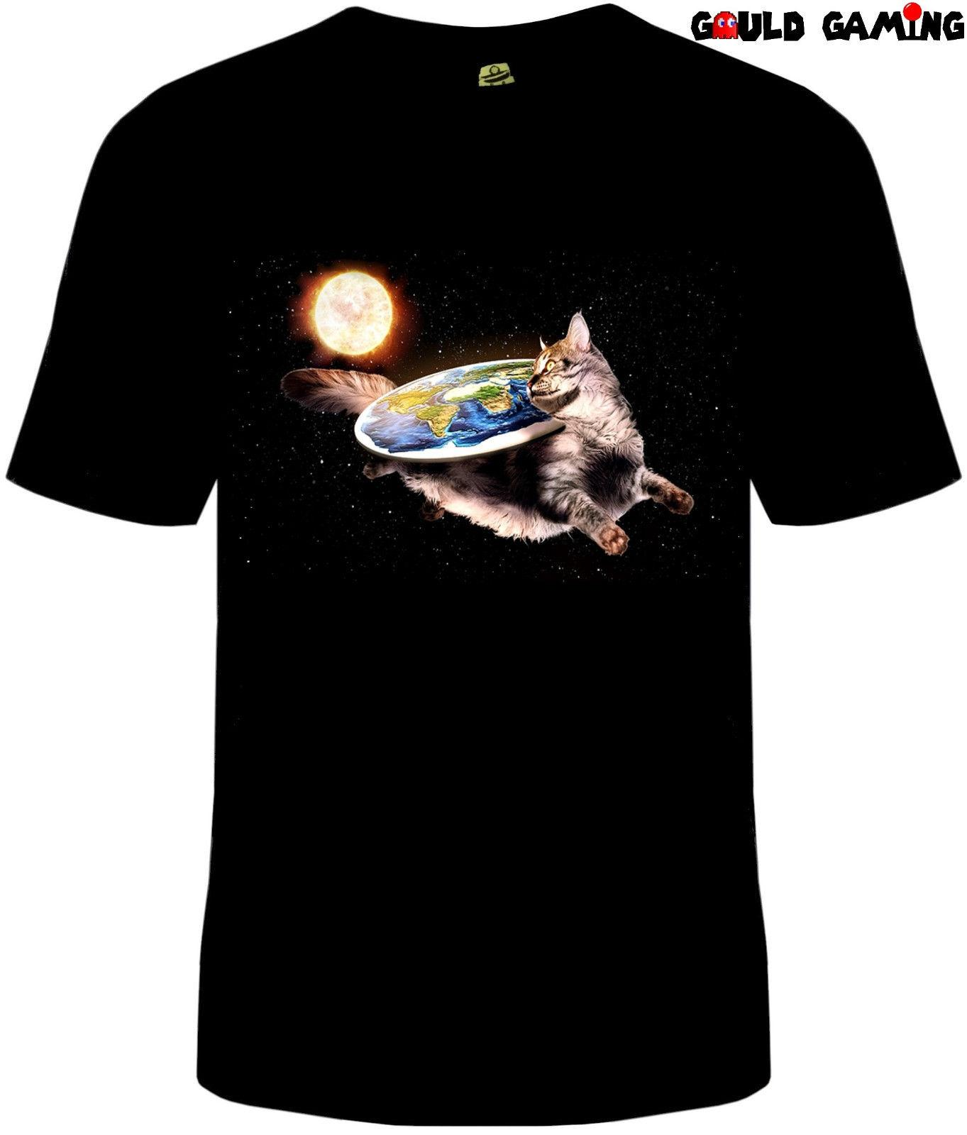 c04d6203 Cat In Space Flat Earth T Shirt Unisex Adult Funny Sizes Cotton NASA Scheol  New Men Women Unisex Fashion Tshirt Denim Shirts Design T Shirts From ...