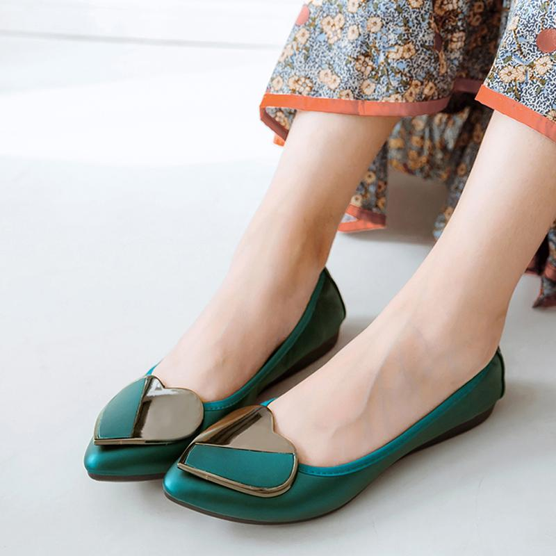 17c0e191cb2f Luxury Brand 2019 Spring Fashion Women Pointed Toe Ballerina Flats Foldable  Designer Green Flat Casual Soft Leather Boat Shoes Comfort Shoes Sneakers  Online ...