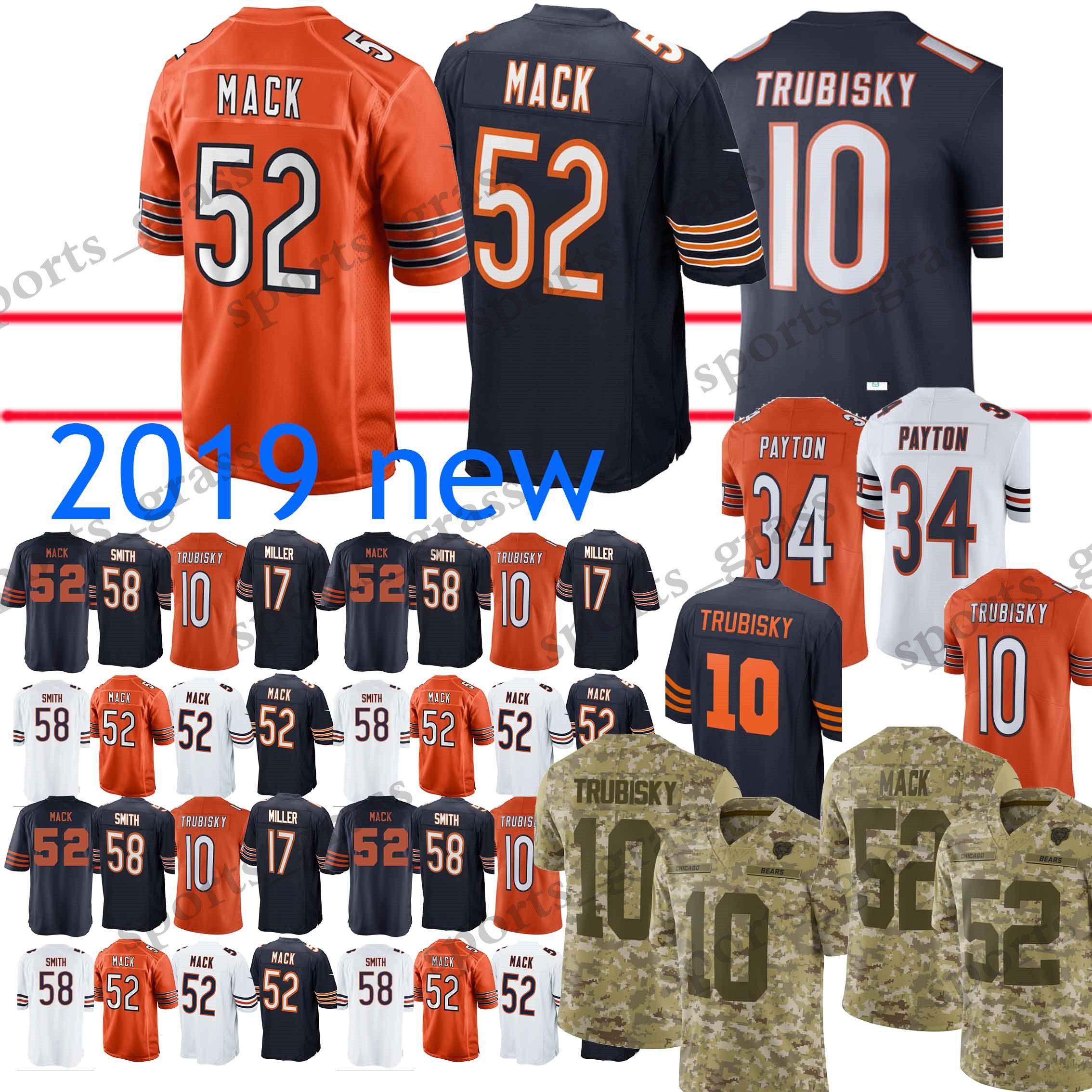 buy online cf080 b612d 52 Khalil Mack Jerseys 10 Mitchell Trubisky Chicago bears 34 Walter Payton  58 Roquan Smith 24 Howard Jersey 2019 new