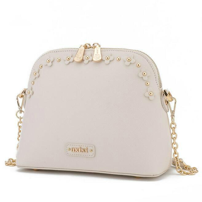 2019 Spring Fashion New Handbags High Quality Pu Leather Women Bag Rivet Flower Chain Shell Bag Sweet Ladies Lace Shoulder Bag
