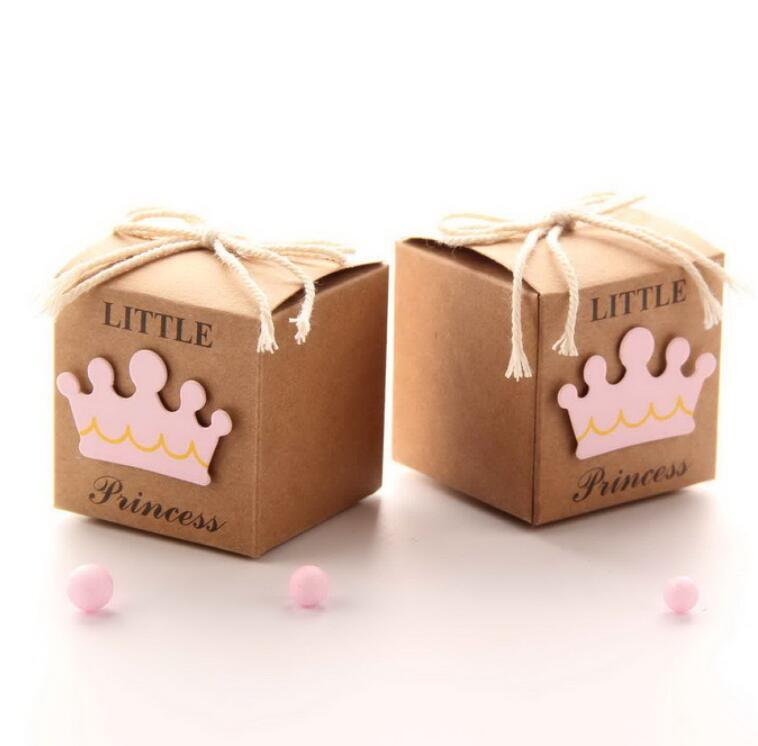 10pc/lot Baby Shower Newborn Baby Candy Box Little Prince Little Princess Crown Candy Boxes Lovely Babyshower Party Gift Boxes