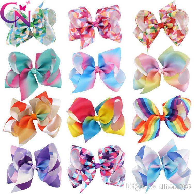 2064f941d Hot Selling Kids Girl Ribbon Hair Bows Geometric Rainbow Hair ...