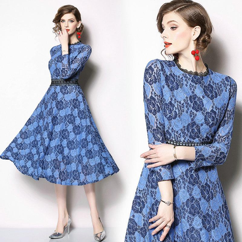 44a5c68d9ae9 Spring Summer New Lace Dress Hollow Out Big Swing Fashion Slim ...