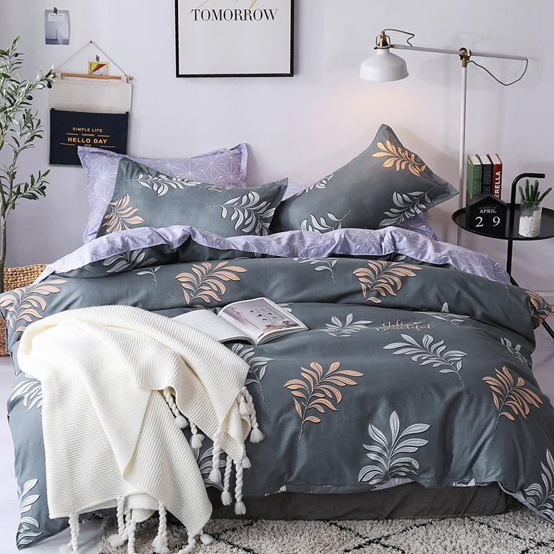 Bonenjoy Double Bedding Set King Size Gray Leaf Printed Single Bed Linen  Quilt Cover Bed Sheet Queen Size Covers Sets