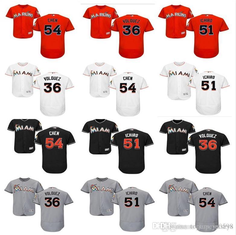 best website 18883 6a5fa 2019 custom Miami Men s women youth Majestic Marlins Jersey #36 Edinson  Volquez 51 Ichiro Suzuki 54 Wei-Yin Chen home kids Baseball Jer