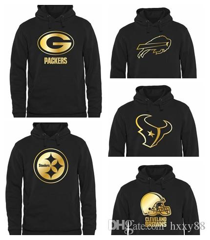 promo code f3515 75fc9 Men's Pittsburgh Steelers Houston Texans Cleveland Browns Buffalo Bills  Green Bay Packers Pro Line Black Gold Collection Pullover Hoodie