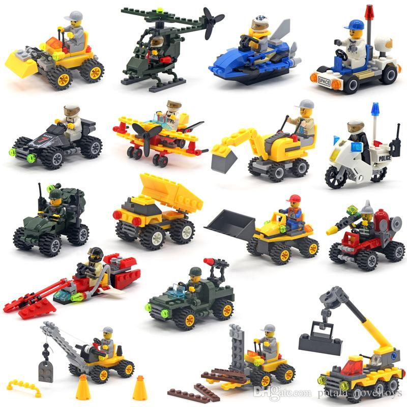 Military Cars Building Block Seris power forklift police racing car Bricks Chariot Vanguard Airplane army Model Toys Excavator Boys Gifts