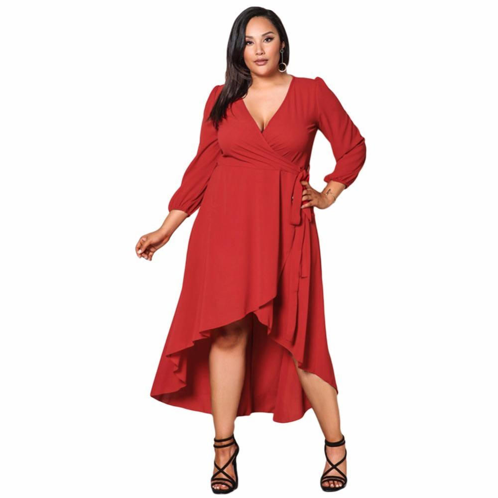 6d82eecd1da99 Women Oversized Solid Wrap Dress Sexy V Neck Long Sleeve Plus Size Dress A  Line Party Big Large Size Casual Loose Red Dress 2019 Club Dresses Occasion  ...
