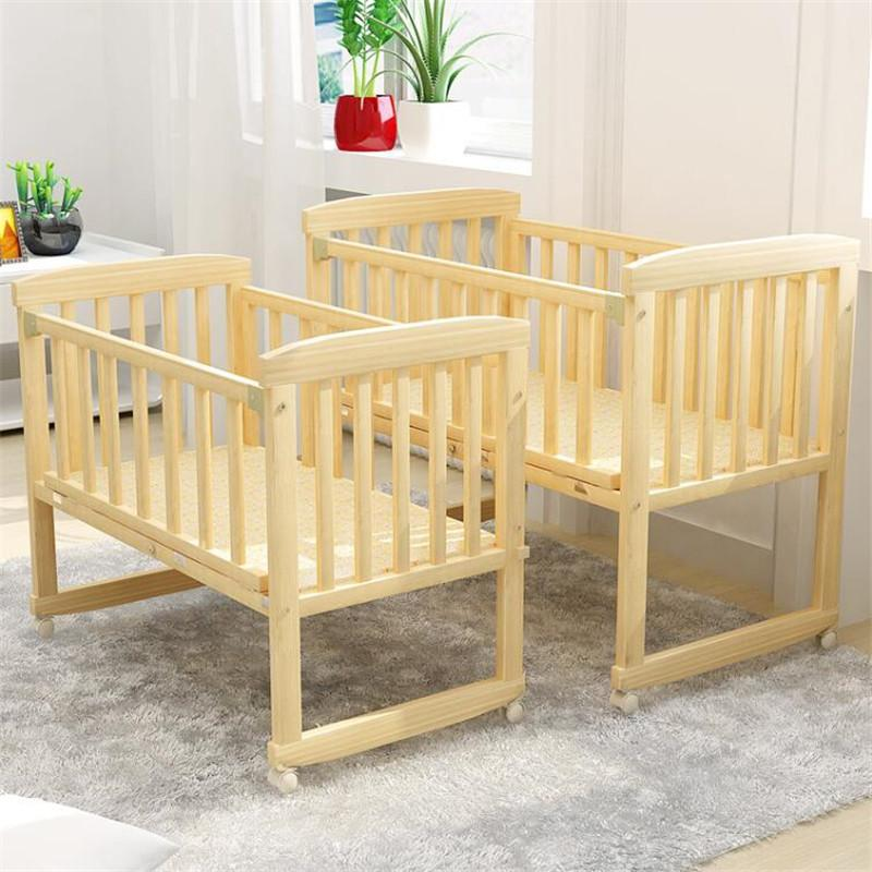 Baby Cribs Wooden Cradle Toddler Newborn Baby Bed Lengthen Widen Solid Wood Cribs Children Bed With Mosquito Net 0 3 Years
