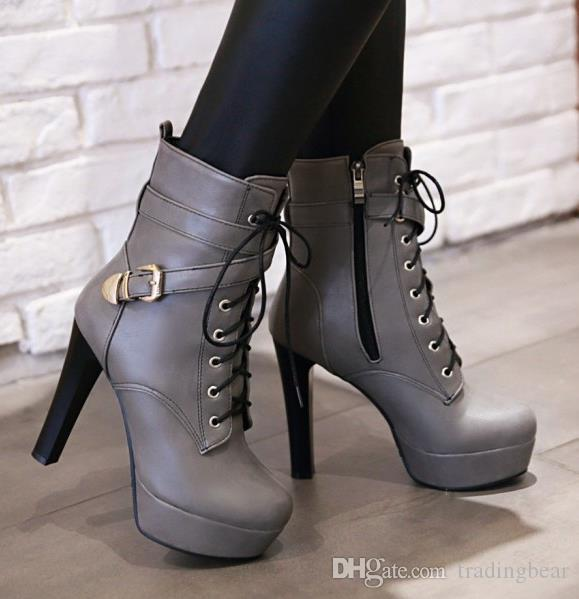 size 33 to 43 44 45 sexy red PU leather high heel lace up knight boots ankle booties luxury designer women boots