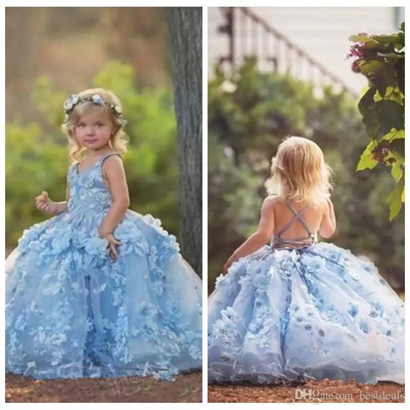 2d04465847 3D Floral Applique Flower Girls Dresses 2019 Cross Straps Backless  Communion Party Gowns Puffy Tulle Birthday Ball Gown Girls Pageant Dress  Ballerina Flower ...