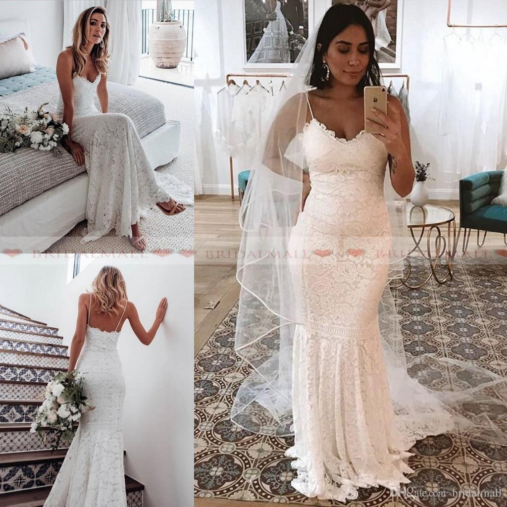 8cdea9ee69 Vintage 2019 Spaghetti Straps White Lace Mermaid Beach Wedding Dresses  Zipper Back Boho Bridal Gowns Sweep Train Bride Dress Robe De Mariee Satin  Mermaid ...