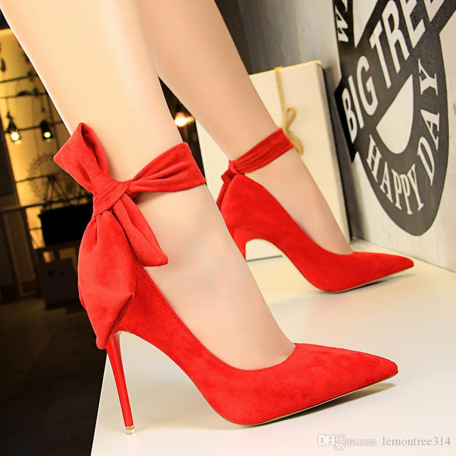 Women Sexy Bowknot High Heels Lady Suede Dress Shoes Wedding Party Evening Pumps  Ankle Strap Stiletto Female Pointed Toe Sandal Clogs For Women Cheap Shoes  ... 73f2b10ffa18