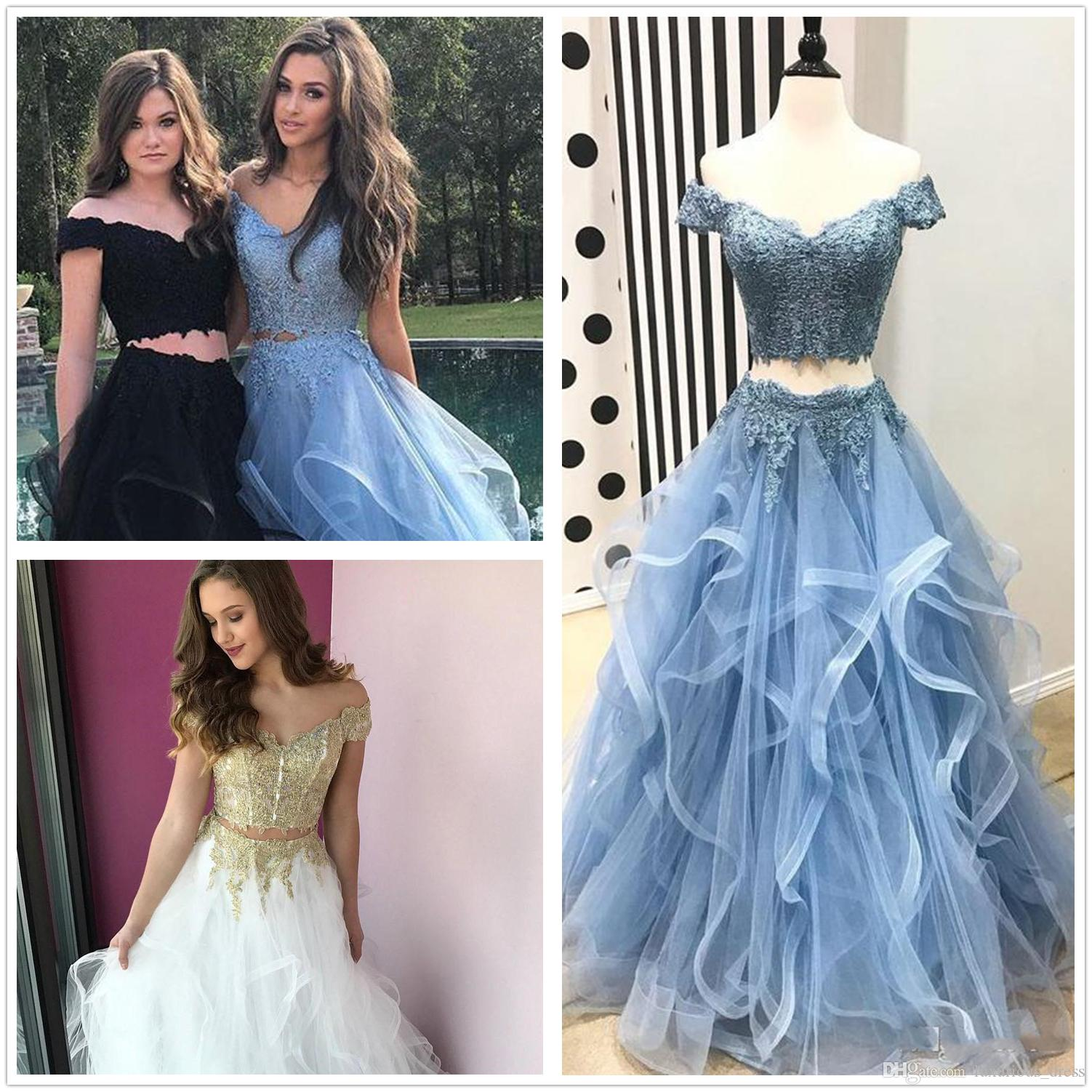 4f6913326a92 Two Piece Prom Dresses 2019 Off Shoulder Top Lace Floor Length Evening Gowns  Tiered Vintage Arabic Real Holiday Party Dress Robes De Soirée Fashion Gowns  ...