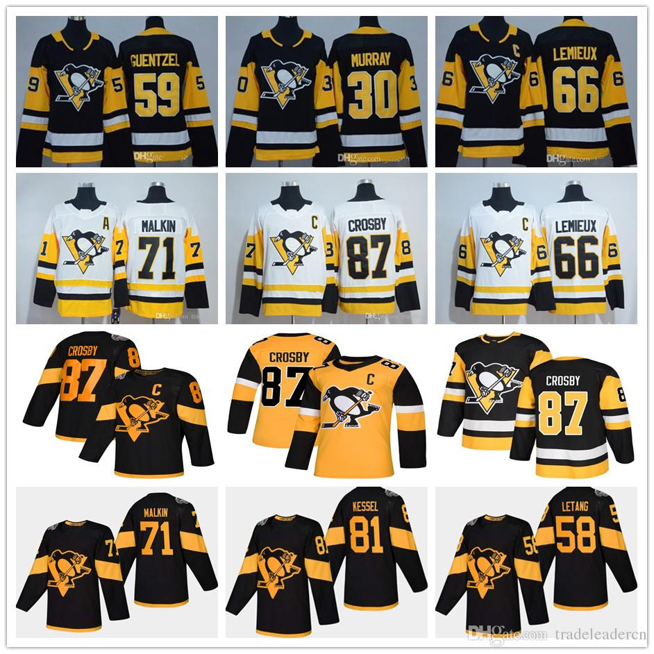 Gioventù Mens Lady Pittsburgh Penguins 87 Sidney Crosby Mario Lemieux Evgeni Malkin Letang Phil Kessel Guentzel Matt Murray Kids Hockey Maglie