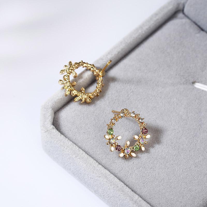 2018 modeschmuck voller kristall blume ohrstecker für frauen party hochzeit blüten einfache runde ohrringe geschenk ez6