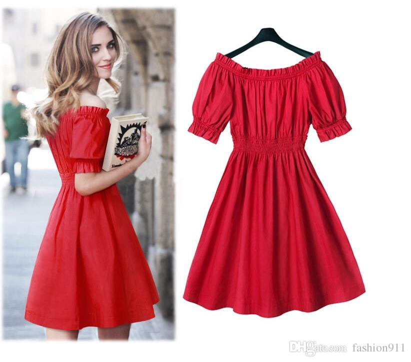 2019 new women's big neck short sleeve a-line office lady one piece dress with buttons female red dresses S-2XL
