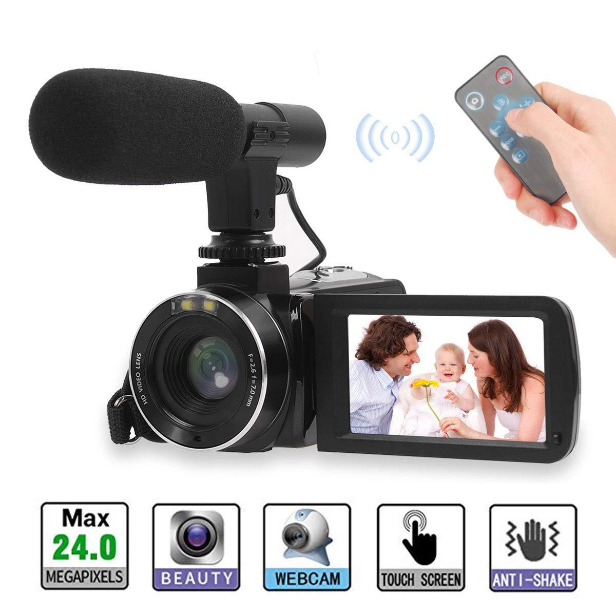 Video Camera, Full Video CameraDigital Camera 30FPS LCD Touch Screen  Vlogging Camera for YouTube with External Microphone and Remoter