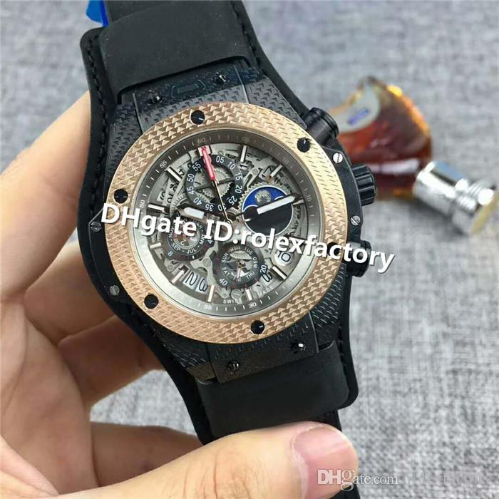 2019 Top Luxury Watch Moonphase Swiss Quartz Sapphire Crystal Carbon Fiber Case Rose Gold Bezel Skeleton Dial Leather Strap Mans Watch