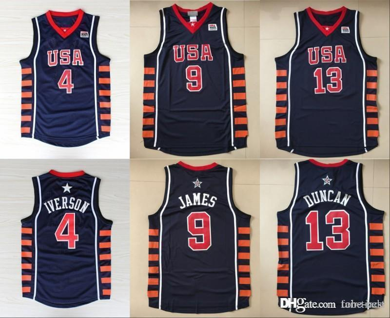 b3c30ee3a9d41 2019 Men 2004 New Basketball Jerseys Dream Team 6 SIX 13 Tim Duncan 9 LeBron  James 4 Allen Iverson Jersey Men Navy Blue Stitched College From Tobe Best,  ...