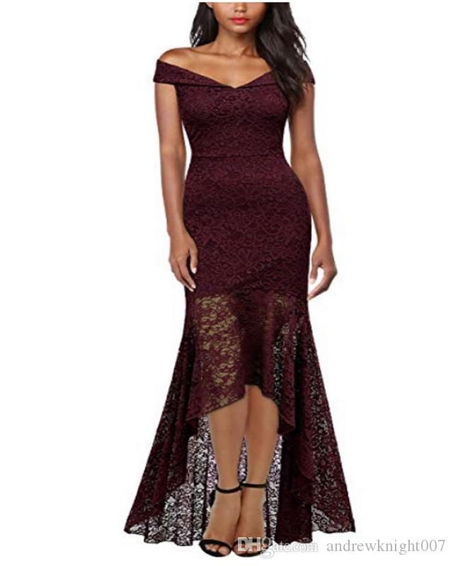 2019 Womens Floral Lace Wedding Mermaid Dress Off The Shoulder Sexy Bodycon  Party Dress Summer Elegant Vintage Dress Blue Robe Female DK9033CL From ... 106768ad2b1d
