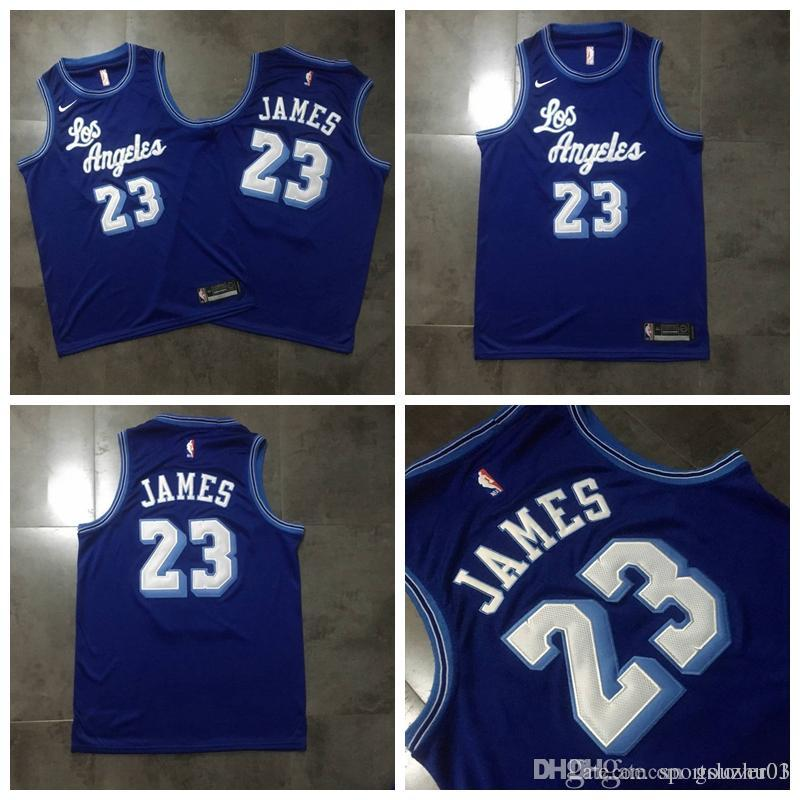 brand new 381e2 bd199 Retro Los Angeles Basketball Laker LeBron 23 James Jersey Embroidered  Fabric Men Blue