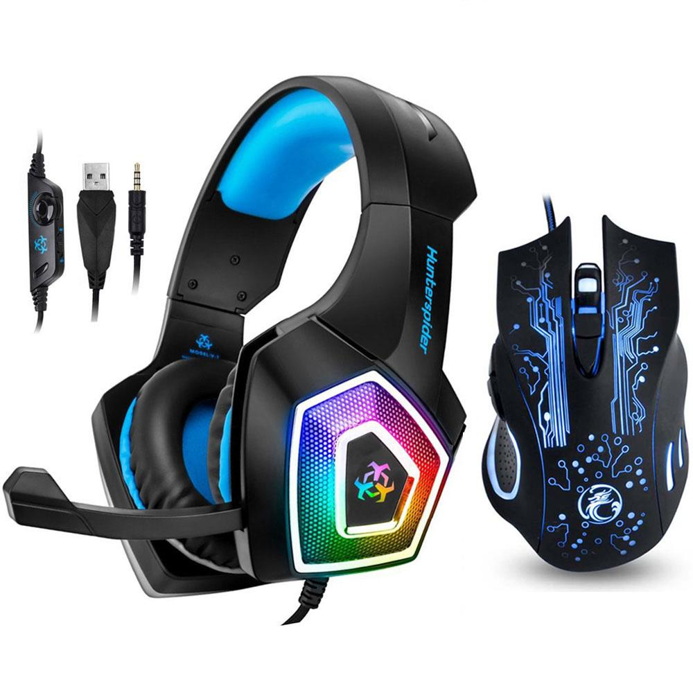 heap Headphone/Headset Hunterspider V1 Gaming Headset Stereo Bass Heaphone  With Mic LED Light for PS4 Xbox One PC+5000DPI 7 Buttons Pro G