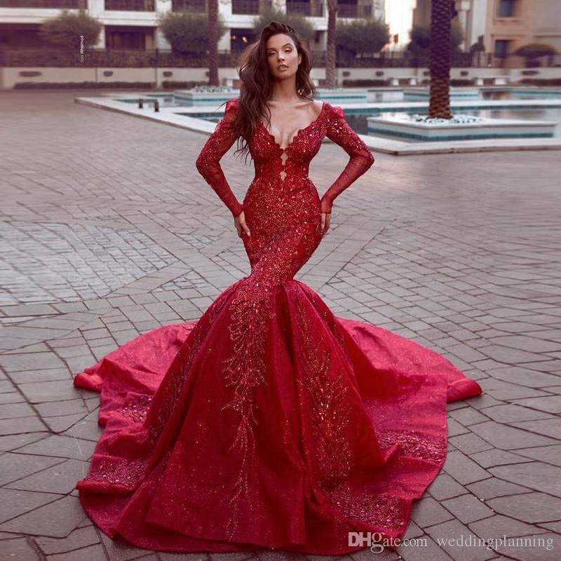 Gorgeous Long Sleeve Red Lace Applique Sequins Mermaid V Neck Prom Dresses  Zipper Back Long Train Bridal S WeddingParty Gonws WeddingDress Prom Dresses  To ... 8d0b899d1