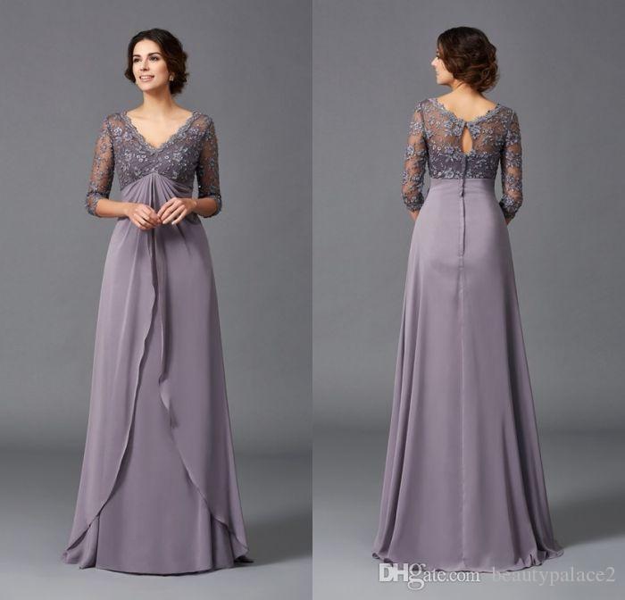 5de859058074 Modest Elegant A Line V Neck Empire Waist Beach Mother Of The Bridal ...