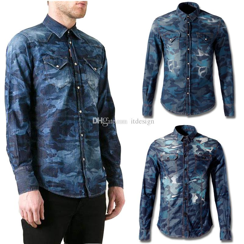 7ab9fa01a Camouflage Denim Shirt For Man Bleach Wash Color Contrast Skinny Fit Cowboy  Cotton Shirt Cool Guy Longsleeves