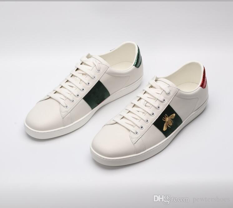 a2c46376b5a New Designer Shoes Green Embroidery Bee Men Women ACE Leather Designer  Sports Shoes Luxury Brand White Casual Shoes Size 35-46 Designer Shoes Ace  Shoes Men ...