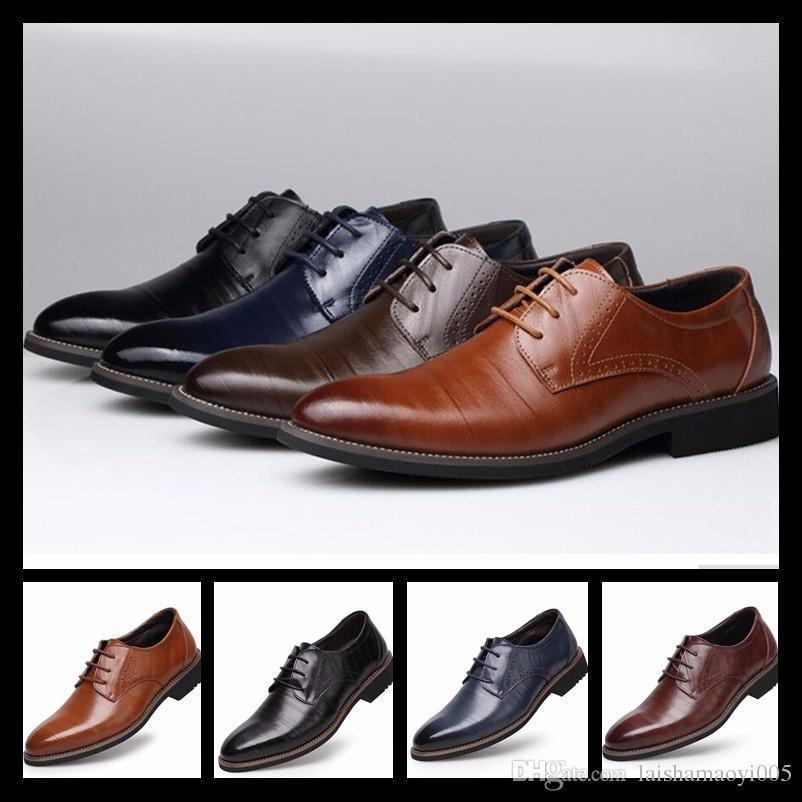 Mens Business Office Genuine Leather Shoes Gentleman Brand Wedding Party Black Brown Shoes Great Breathable Dress Big Size 38-48