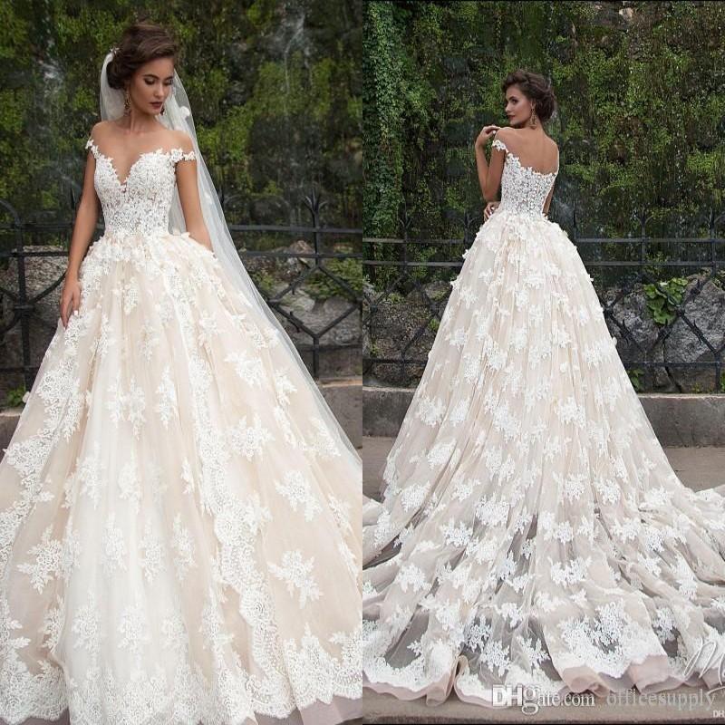 8c0221b583e4d5 Discount Vestidos De Noiva 2019 Vintage Ivory Lace Ball Gown Wedding  Dresses Off The Shoulder Sheer Neck Appliqued Lace Bridal Gowns Vintage  Dresses Online ...