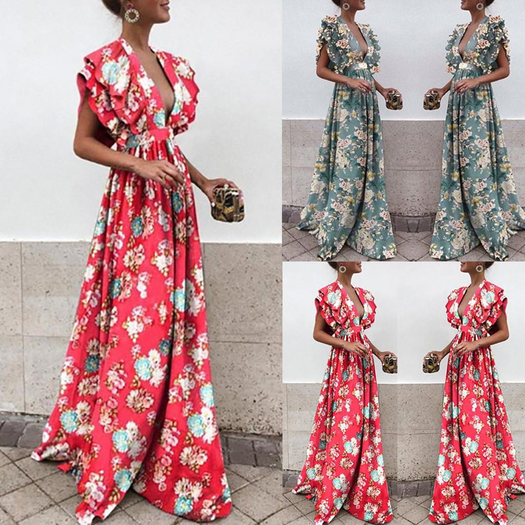 Summer Dress Womens Stylish Chiffon V-neck Printed Floral Maxi Dress With Waisted Belt Plus Robe Femme Women's Clothing