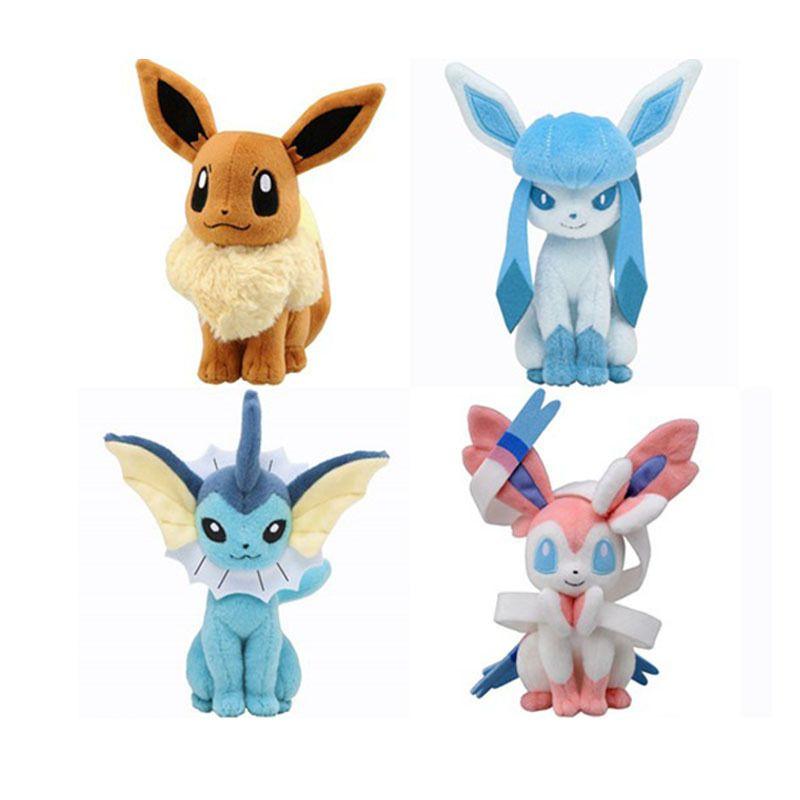22cm Center Plush toys Pikachu dolls Jolteon Umbreon Flareon Eevee Espeon Vaporeon Kids Children Toy gifts 9 styles in stock