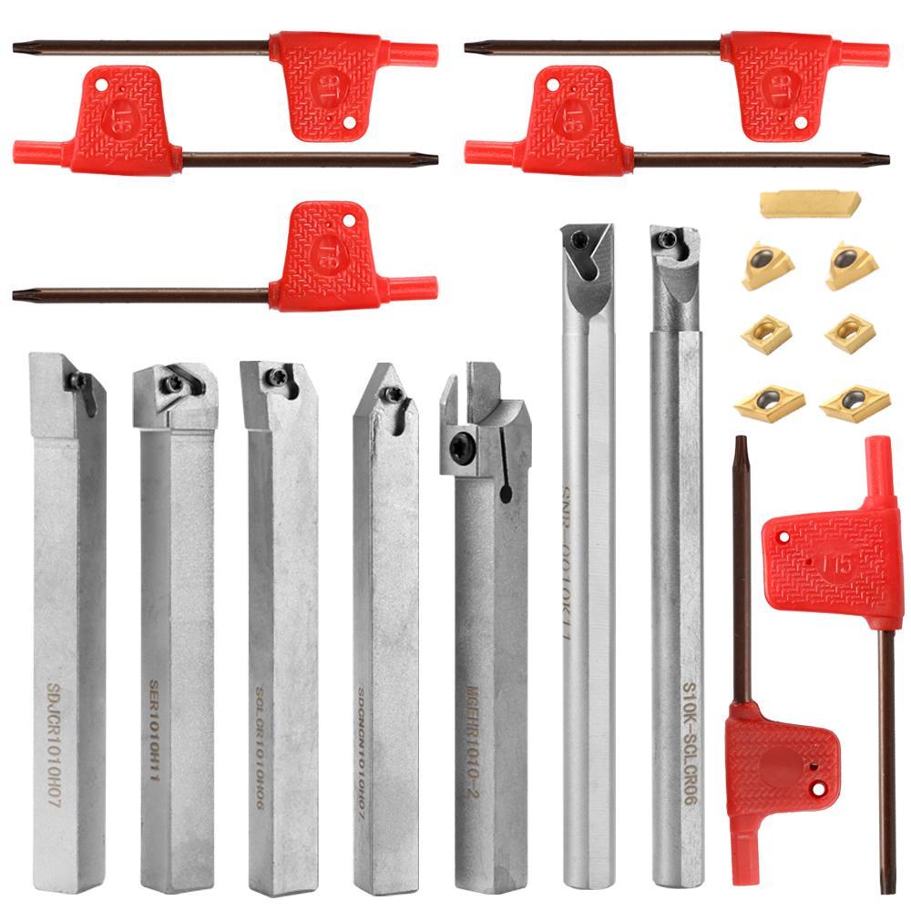21PCS 10mm Lathe Boring Bar Carbide Insert Wrench Turning Tool Holder Set